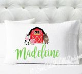 Personalized pillow case - girls barn animals - case only - pillow not included