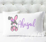 Personalized pillow case - girls bunny - case only - pillow not included