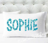 Personalized pillow case - girls leopard print in aqua- case only - pillow not included