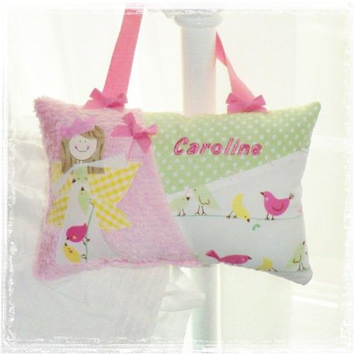 A Personalized Girls Tooth Fairy Pillow Custom Made In Penelope Love Birds Fabrics