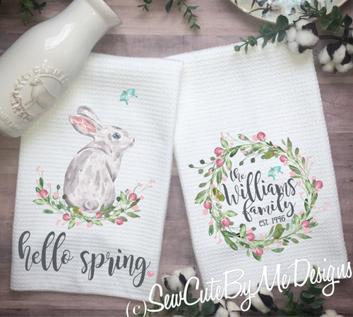 Flat Weave Front Terry Back HELLO SPRING Bunny Dual Purpose Kitchen Towel