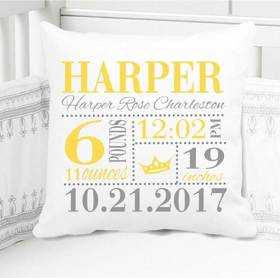 Birth Announcement Pillow - Girls yellow princess - Personalized Pillowcase and Pillow Insert