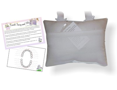 Back of Tooth Fairy Pillow with Tooth Chart and Poem - Aqua Ladybugs