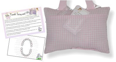 Back of Tooth Fairy Pillow with Tooth Chart and Poem - pink brown owls