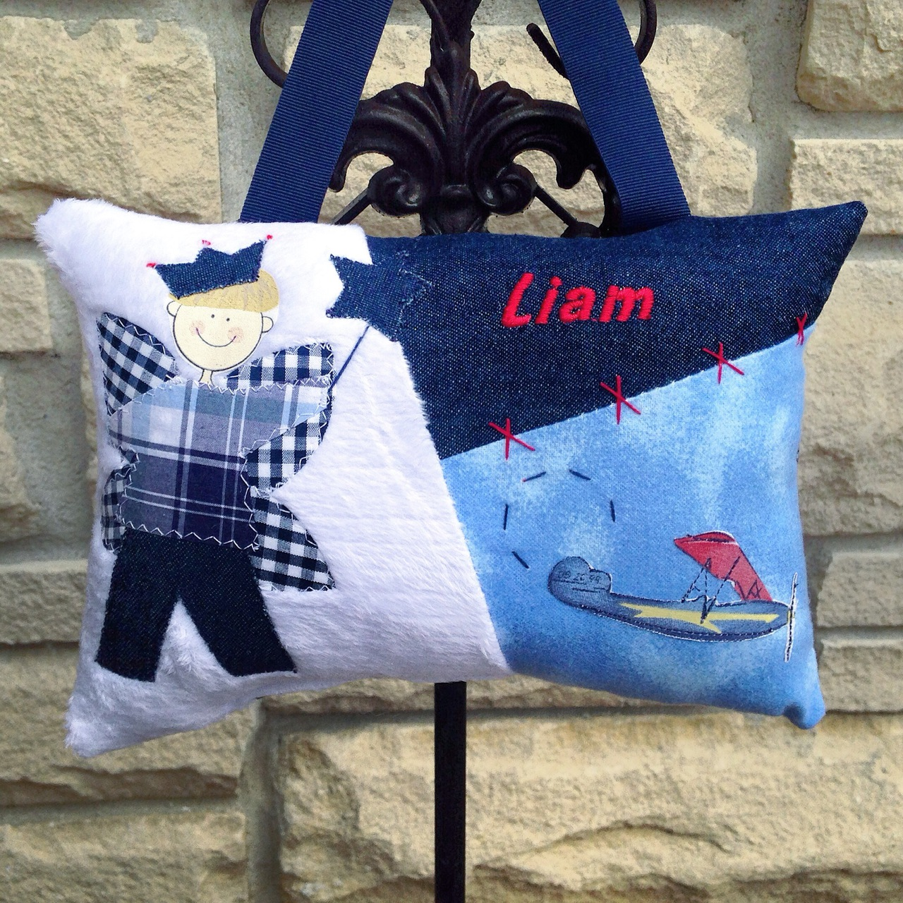 Personalized Boys Tooth Fairy Pillow - Airplane