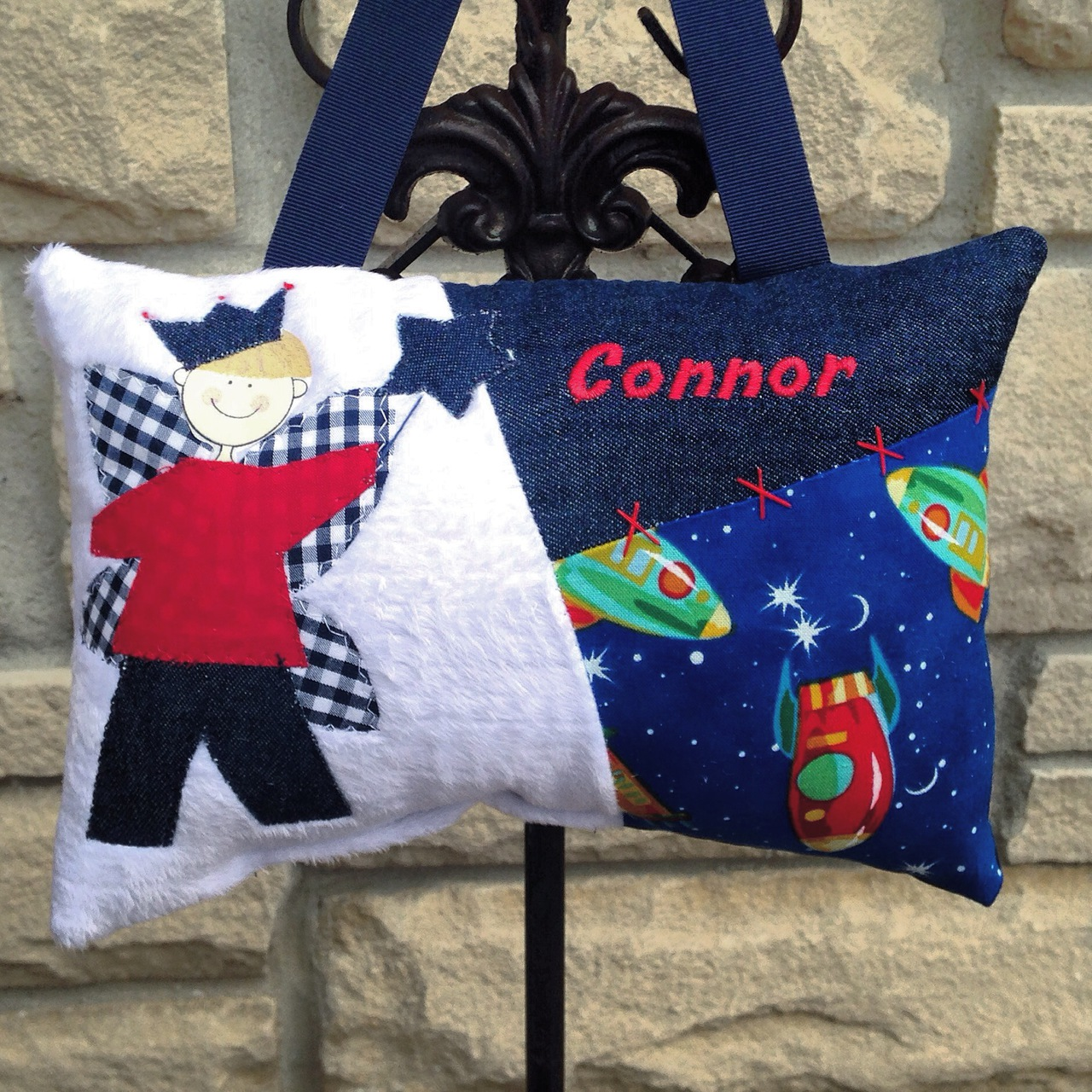 Personalized Boys Tooth Fairy Pillow - outer space
