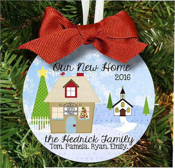 Christmas Ornament – Personalized Christian Church New Home with House Address, Family Names