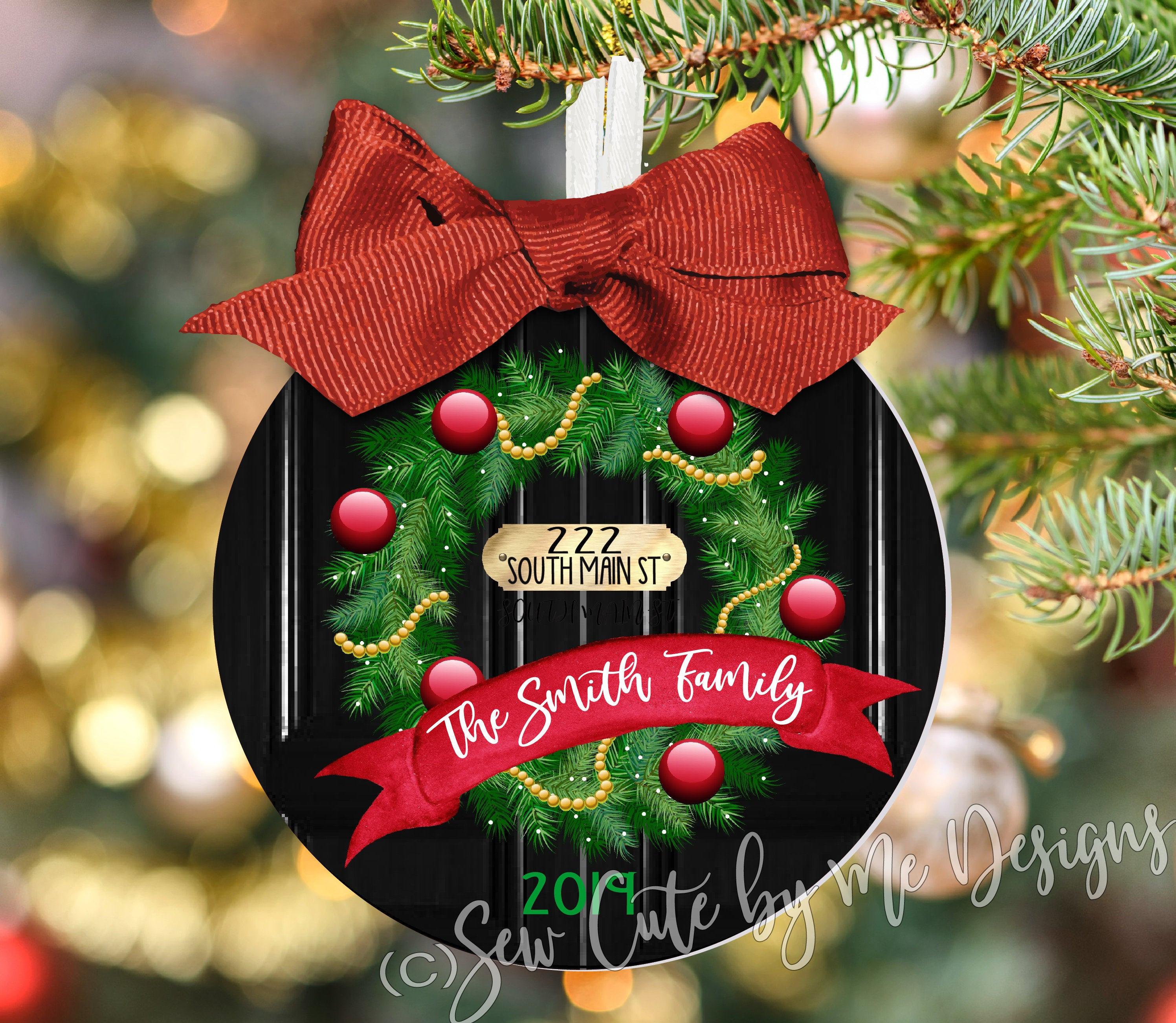 Christmas Ornament – Personalized New Home Front Door Wreath with House Address, Family Name