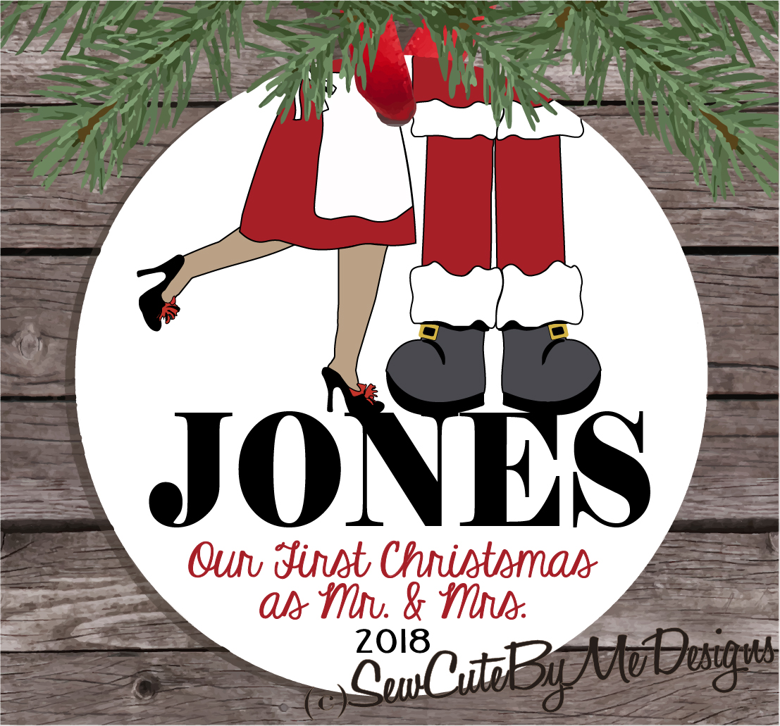 Christmas Ornament – Personalized Our First Christmas as Mr. and Mrs. Santa Claus - Medium