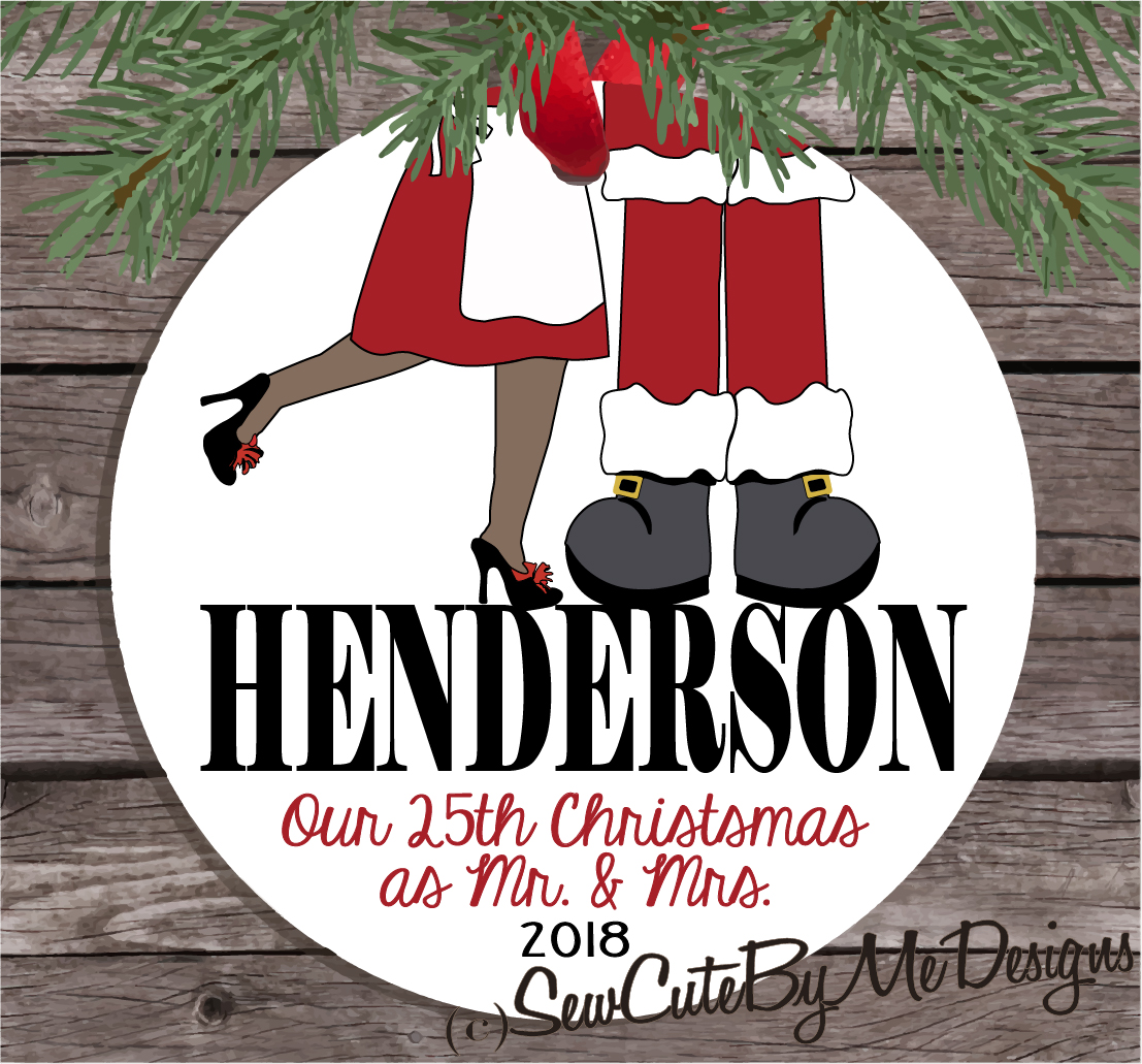 Christmas Ornament – Personalized Our First Christmas as Mr. and Mrs. Santa Claus - Dark