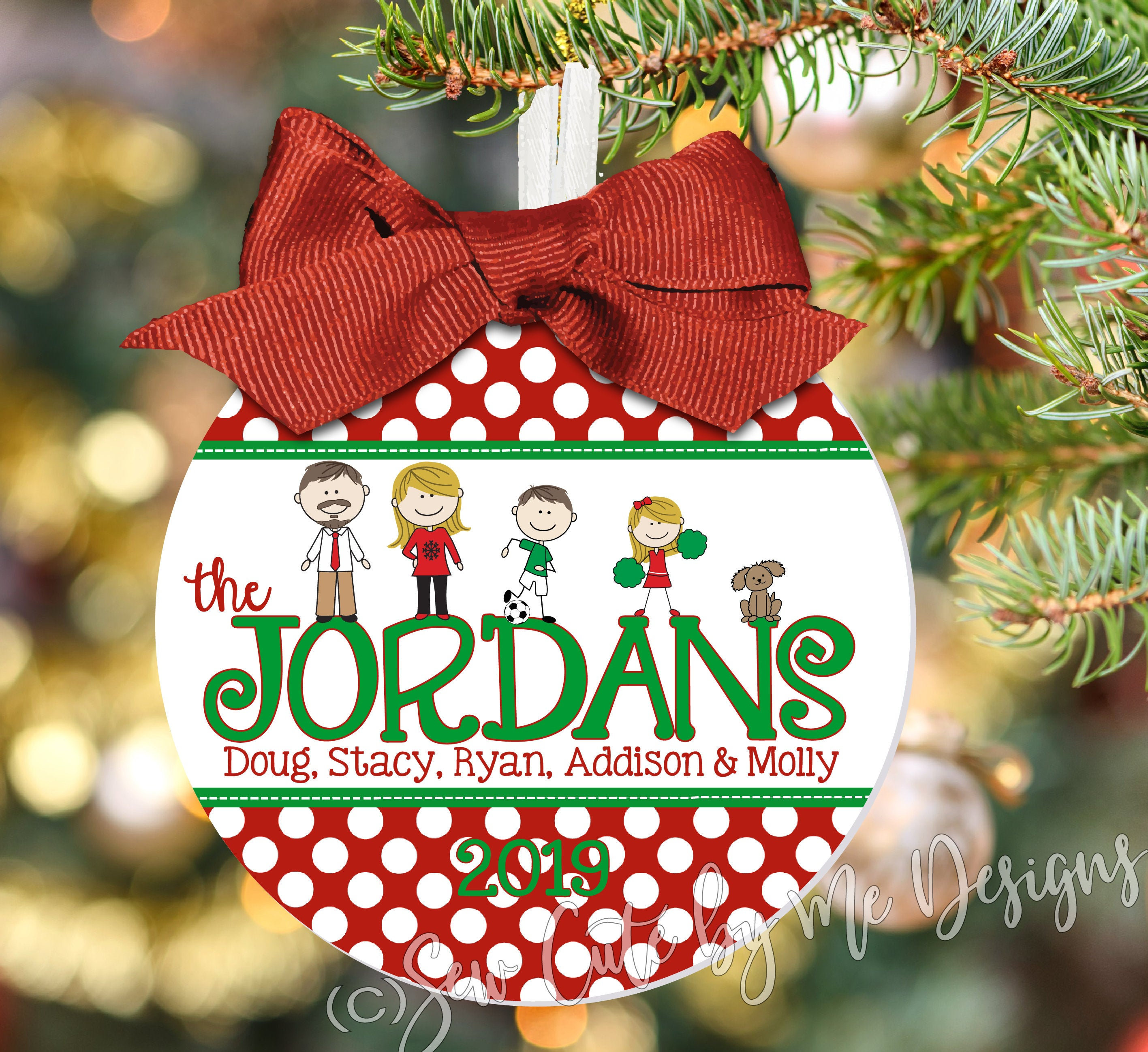 Christmas Ornaments Personalized.4 Family Christmas Ornament Personalized With Characters Names And Year