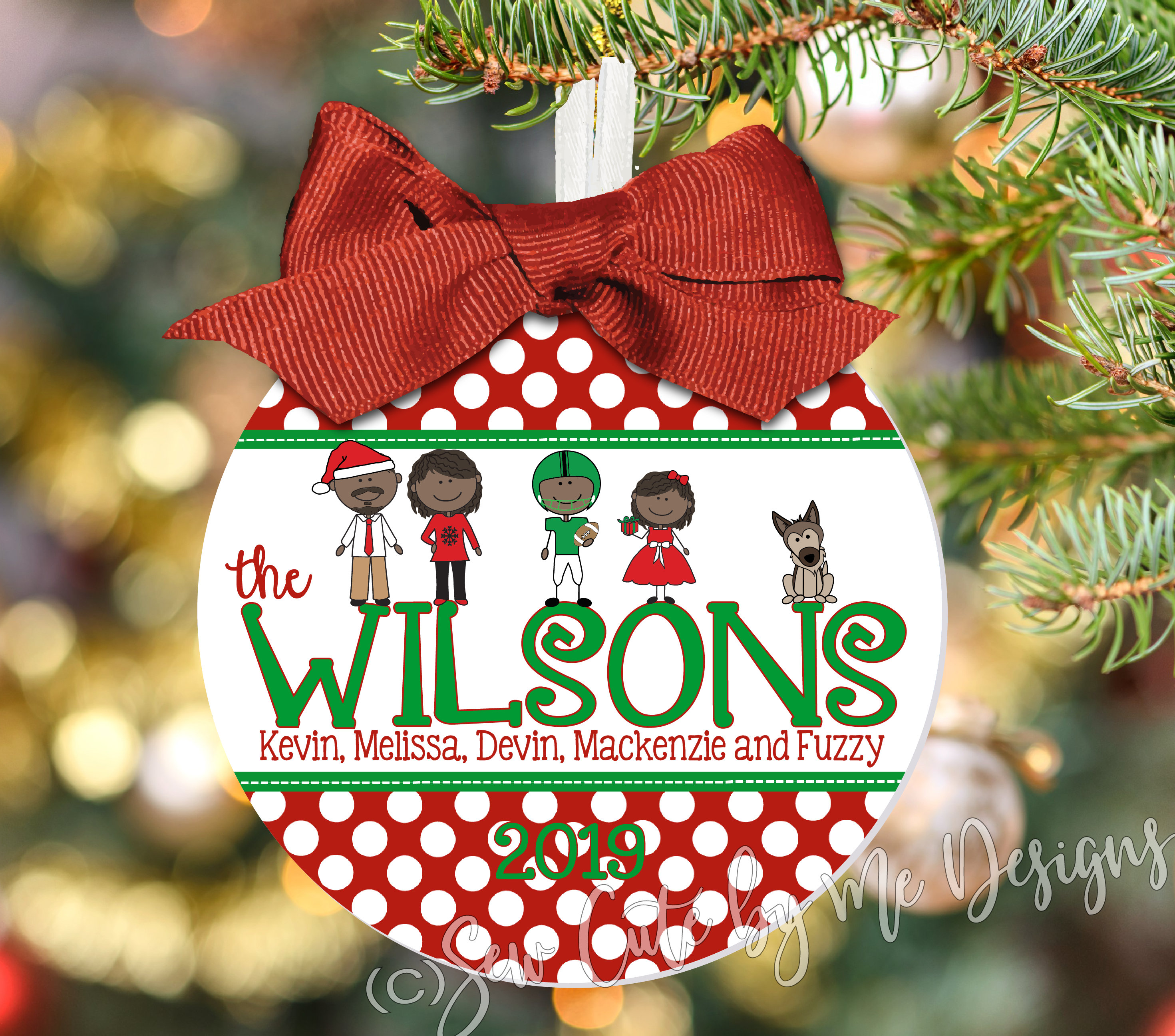 "4"" Family Christmas Ornament Personalized with Characters, Names and Year"