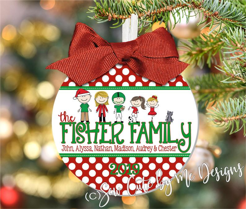 Our Family Christmas Ornament Personalized with Characters, Names and Year 2018