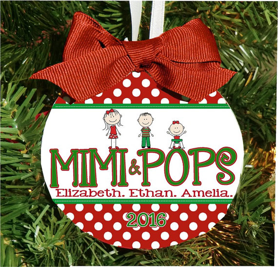 Christmas Ornament – Personalized Grandma / Grandpa with Custom Grandkids Characters - mimi pops
