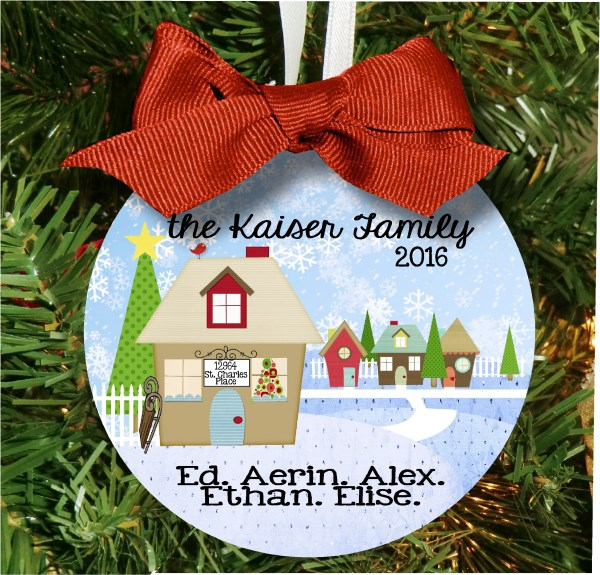 Christmas Ornament – Personalized Family Town Home for the Holidays