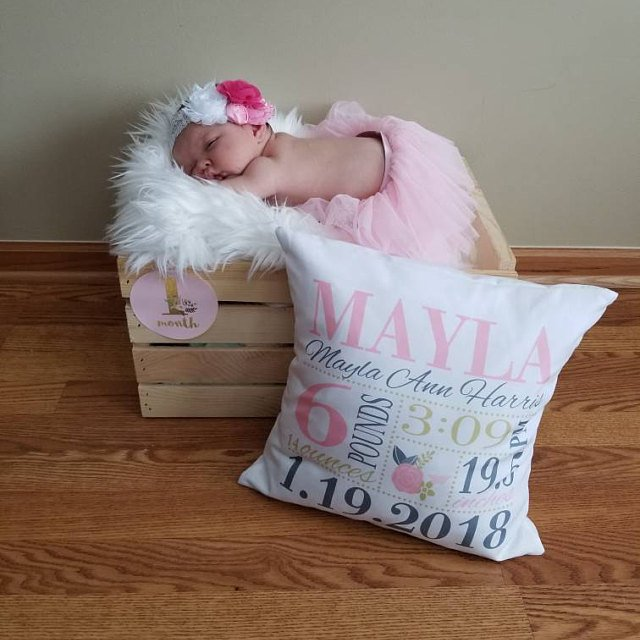 Birth Announcement Pillow - Girls pink gold dark grey floral nursery - Personalized Pillowcase and Pillow Insert - baby