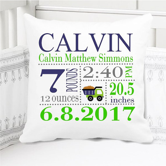 Boys Birth Announcement Pillow Personalized with Baby's Stats – construction navy blue and green