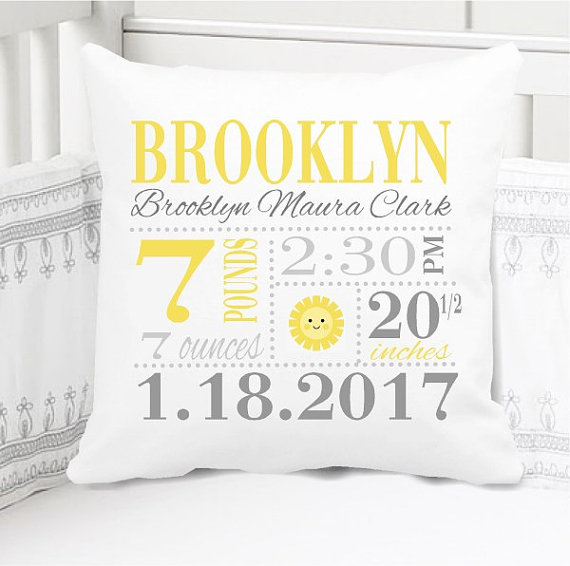 Birth Announcement Pillow - Girls sunshine nursery - Personalized Pillowcase and Pillow Insert