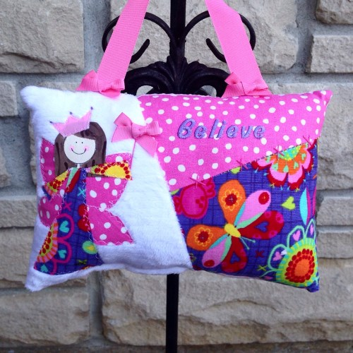 Girls Personalized Tooth Fairy Pillow - Bright Butterfly