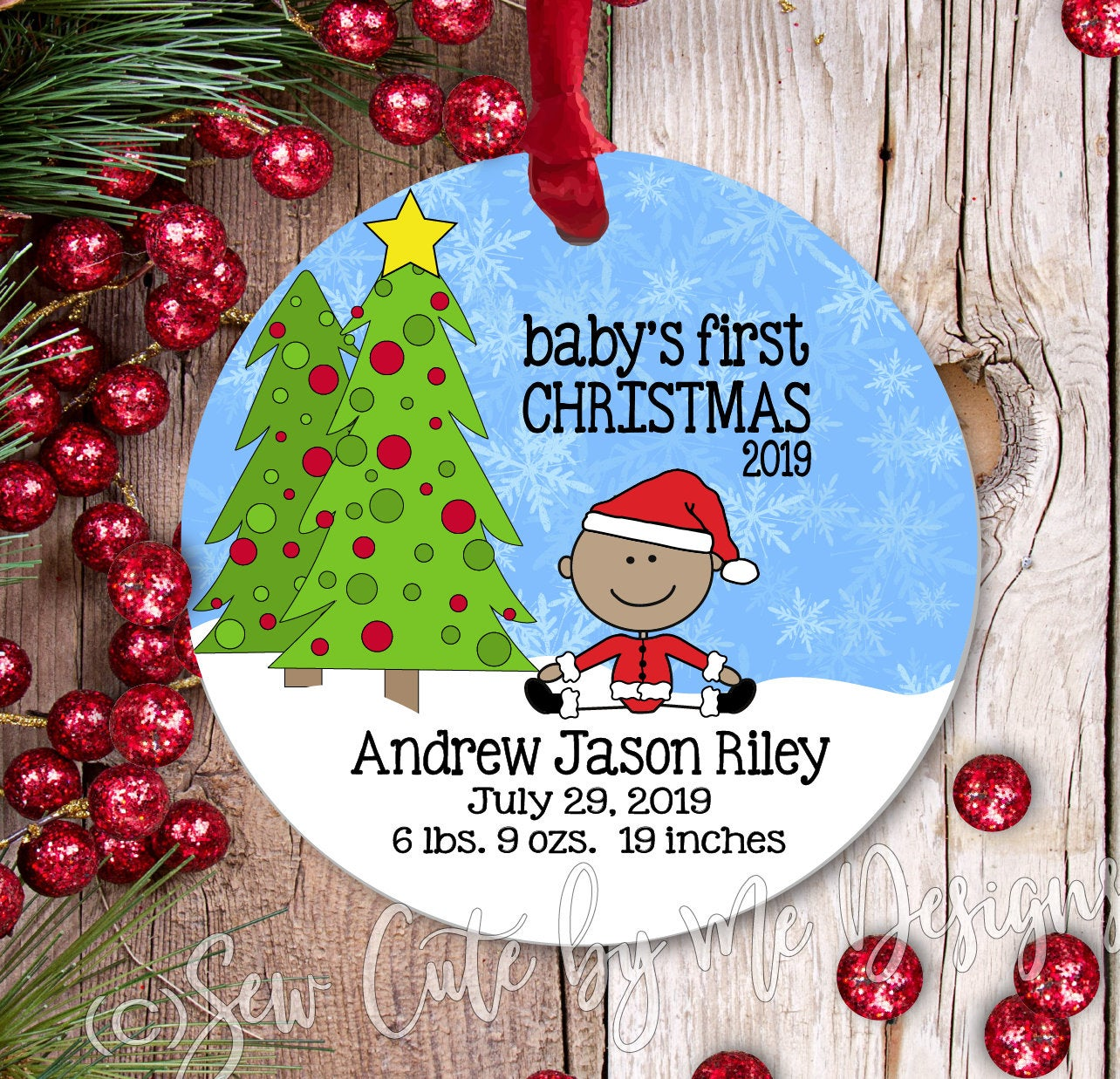 Personalized Baby's First Christmas Ornament - Baby Boy - medium