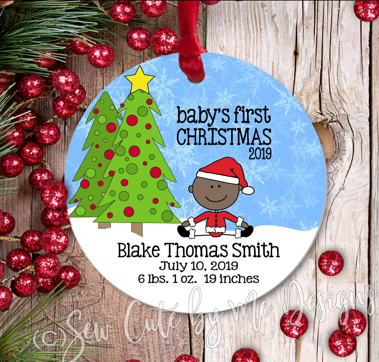Personalized Baby's First Christmas Ornament - Baby Boy - dark
