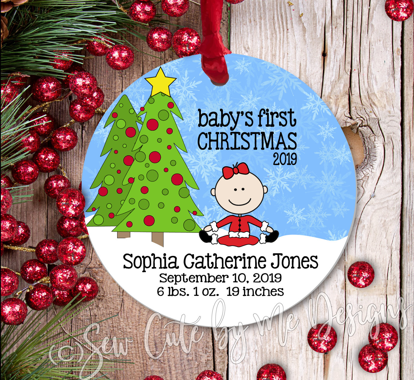 A Christmas Ornament – Personalized Baby's First Christmas - Girl