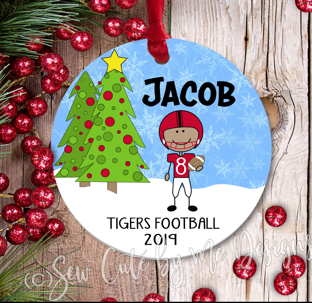 Personalized Football Christmas Ornament - medium skin
