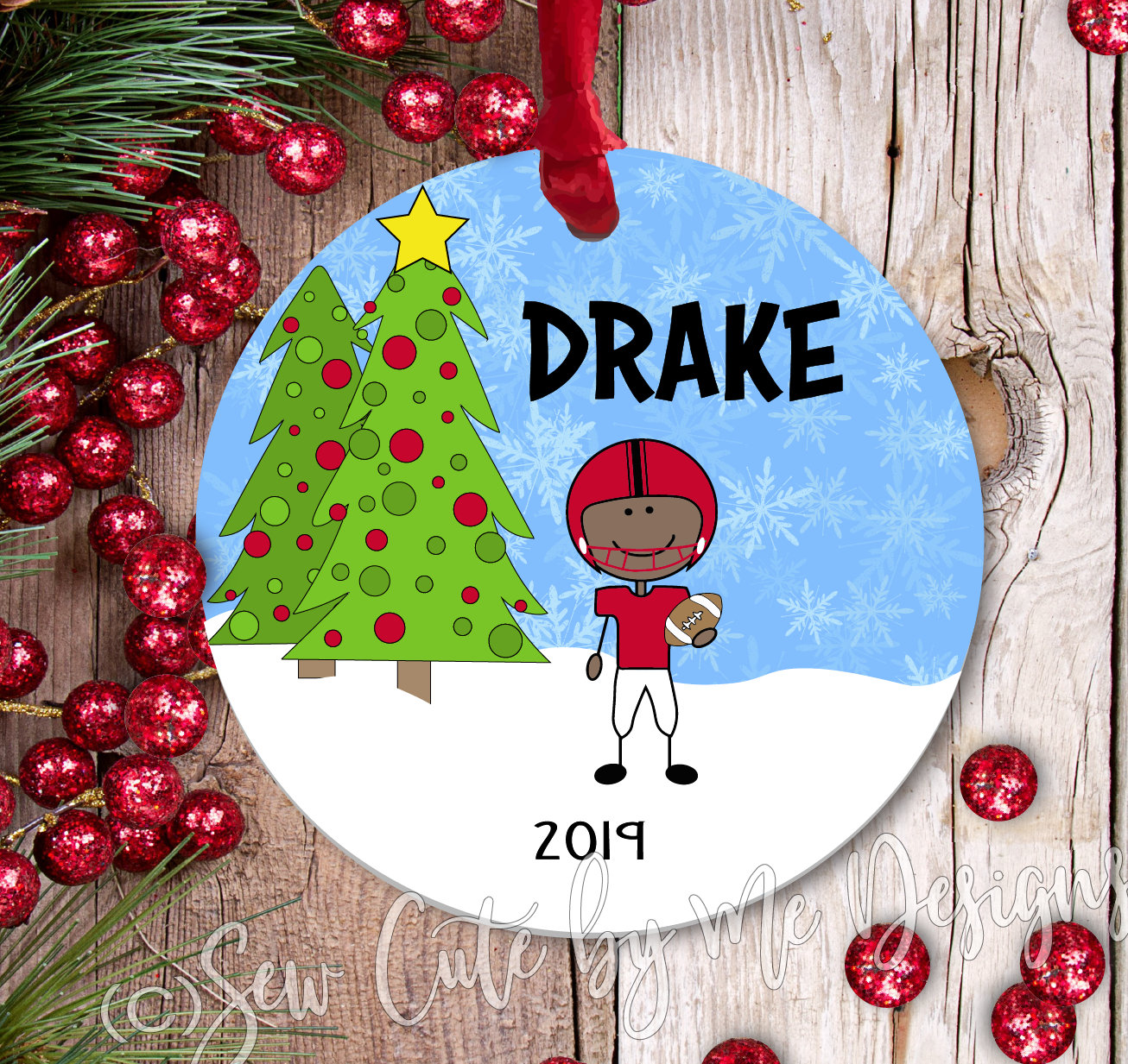 Personalized Football Christmas Ornament - dark skin