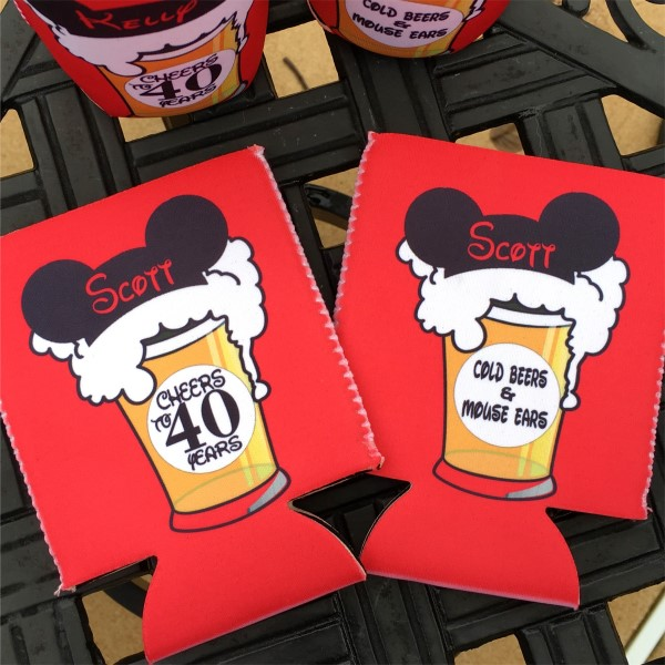 Birthday Coolie Koozie Personalized for Can or Bottle – Cheers and Beers to 21st, 30th, 40th, 50th - Disney Mouse Ears and Cold Beers - flat