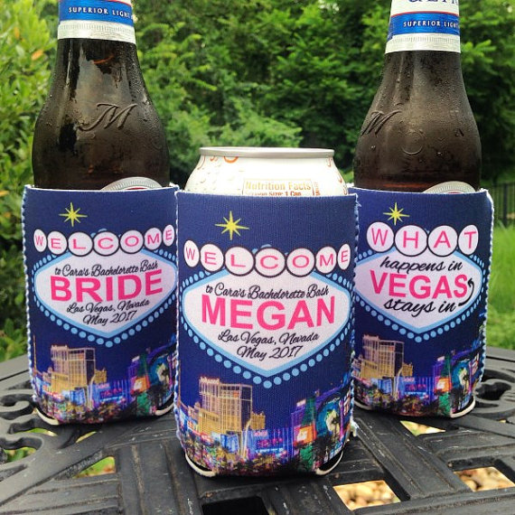 Bachelorette Coolie Koozie Personalized for Can or Bottle – What Happens in Vegas - set