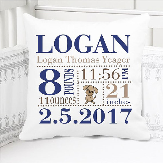 Birth Announcement Pillow - Birth Stats Pillow - Boys Navy Blue and tan Puppy - Includes Custom Pillowcase with Pillow Insert