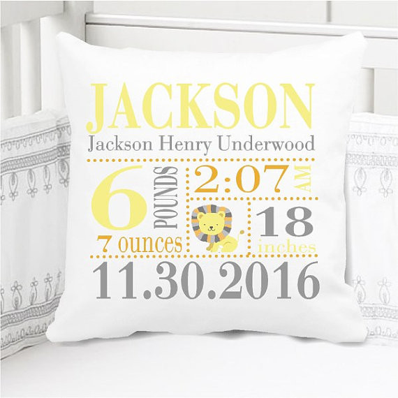 Birth Announcement Pillow - Boys little lion - Includes Custom Pillowcase with Pillow Insert