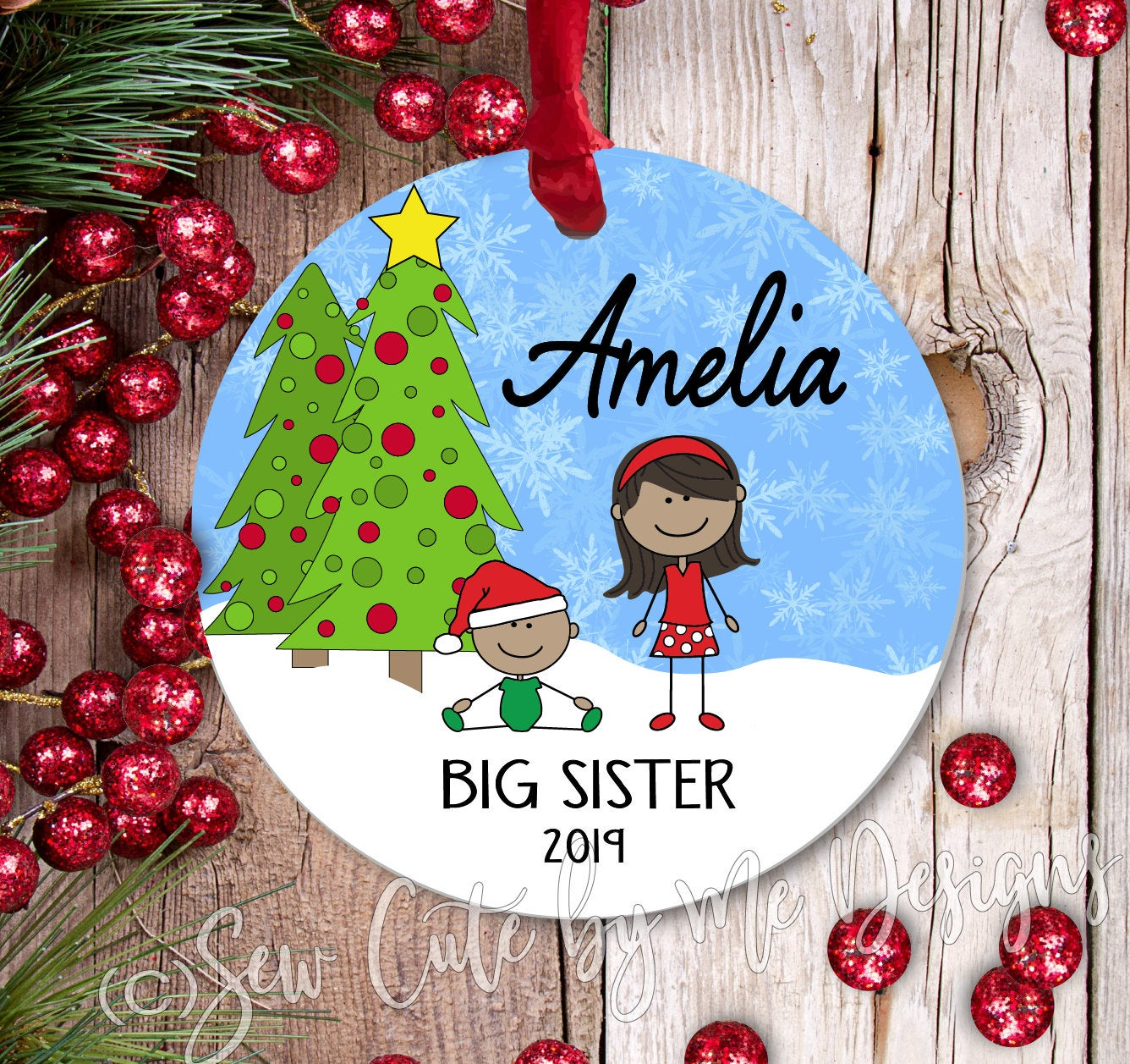 Personalized Big Sister Christmas Ornament - dark