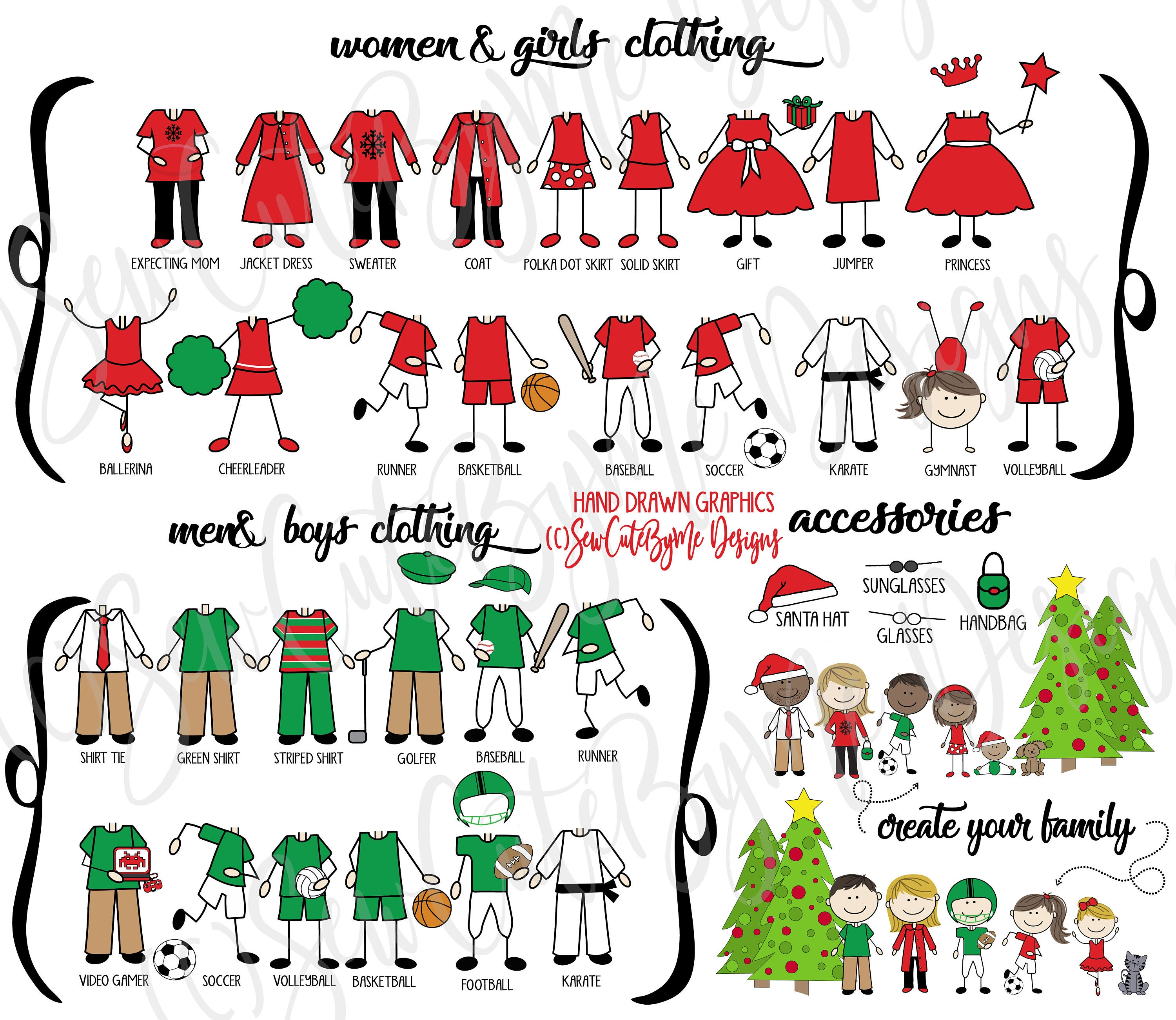 family portrait Christmas ornament choices - outfits and accessories - our family