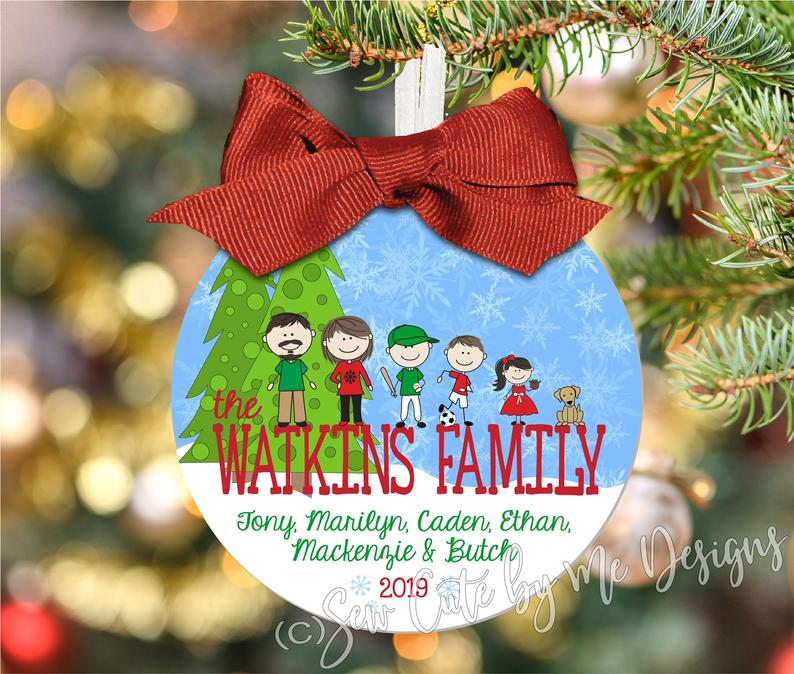 Christmas Ornament – Personalized Family Portrait Ornament - Snow Family on Last Name