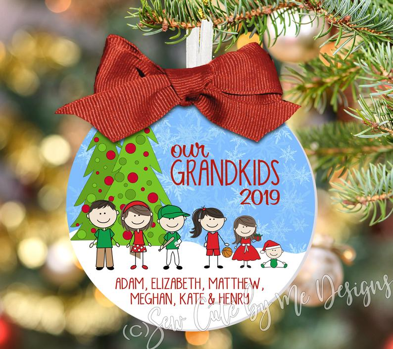 "4"" A Grandma  / Grandpa Christmas Ornament Personalized with Characters, Names and Year - Grandkids Ornament - Family Portrait Ornament"