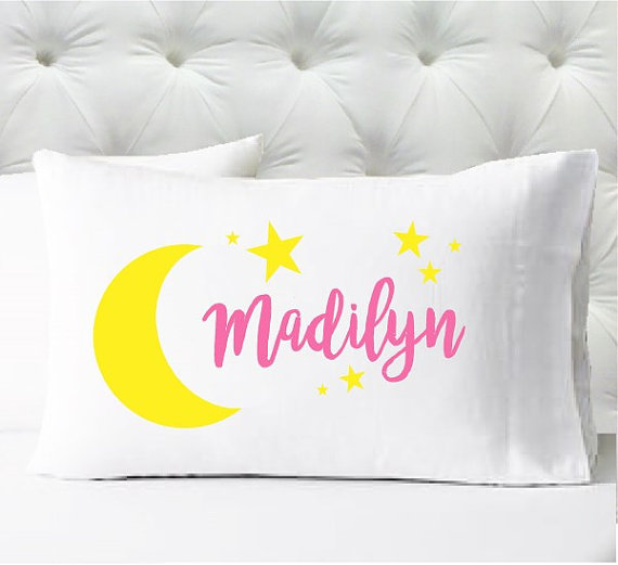 Personalized pillow case - girls yellow and pink moon and stars - case only - pillow not included