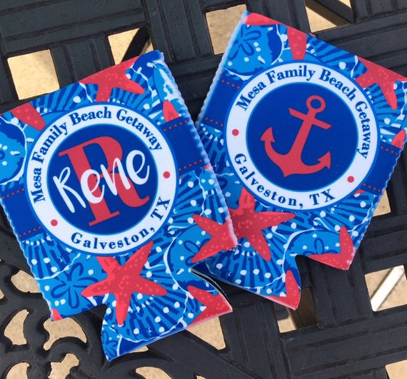 Koozies - Beach Vacation - Sand Dollar - Blue red- flat