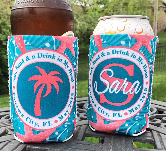 Koozies - Beach Vacation - Sand Dollar - Teal Coral