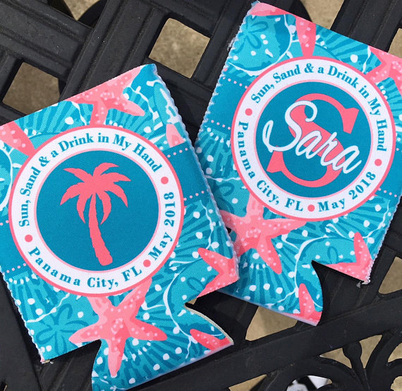 Koozies - Beach Vacation - Sand Dollar - Teal Coral - flat
