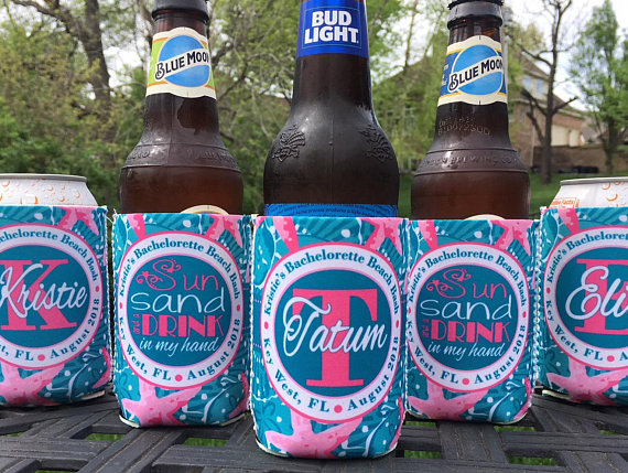 Koozies - Beach Vacation - Sand Dollar - Teal Pink - set
