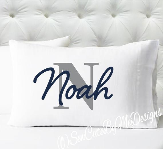 Personalized pillow case - boys initial - case only - pillow not included