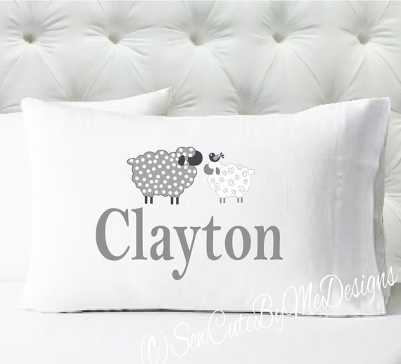 Personalized pillow case - boys counting sheep pillowcase only - pillow not included