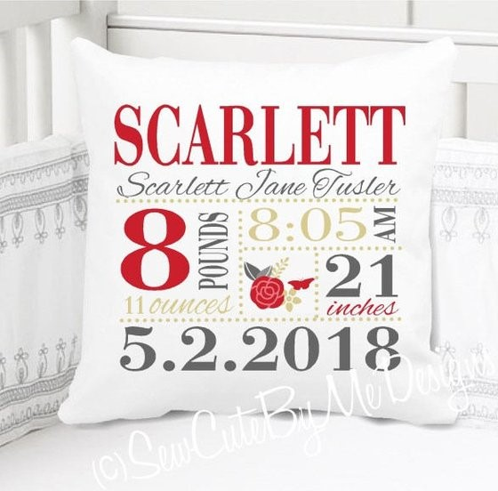 Birth Announcement Pillow - Girls red gold dark grey floral nursery - Personalized Pillowcase and Pillow Insert