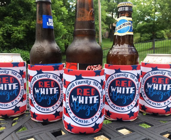 Fourth of July Koozies - Red White and Boozed - circle - set