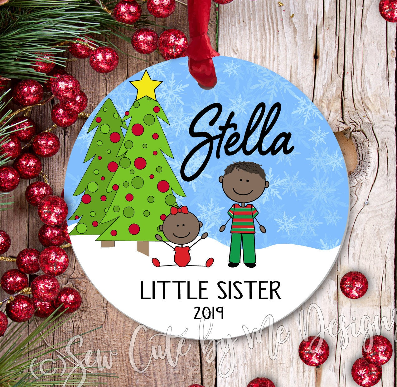 Christmas Ornament – Personalized little sister - dark skin