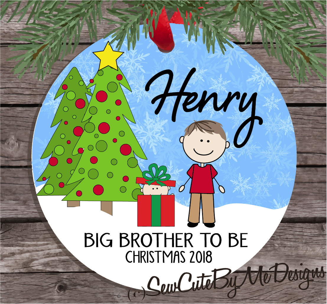 Christmas Ornament – Personalized big brother to be - light skin