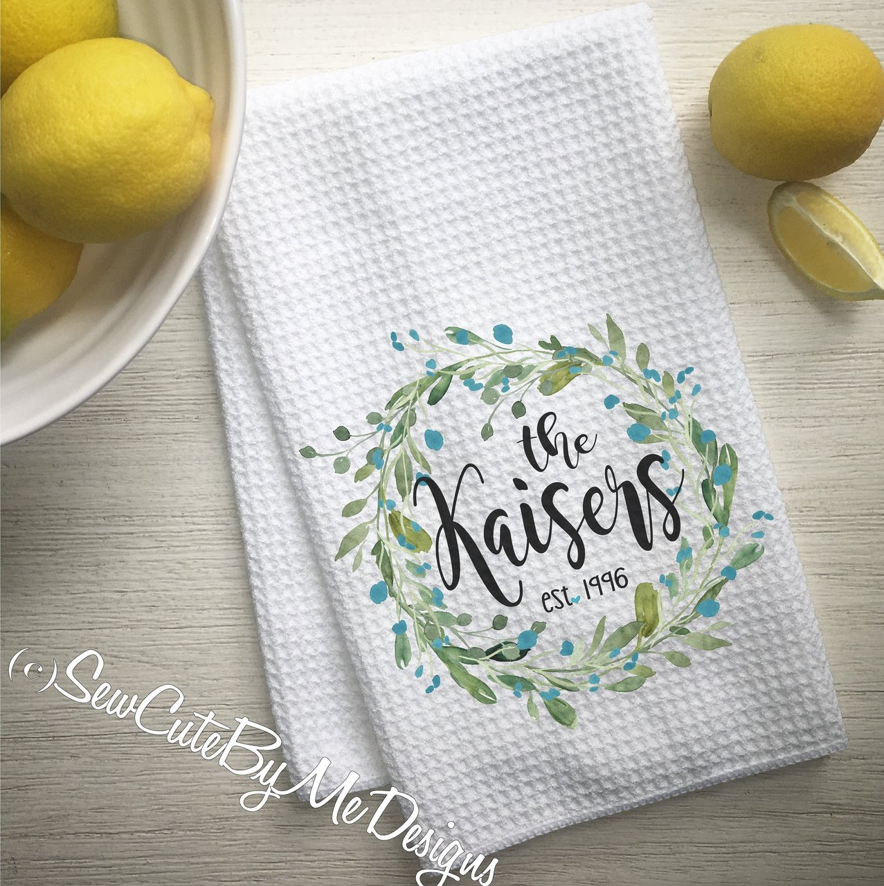 Personalized Christmas Kitchen Towel - Teal Watercolor Wreath