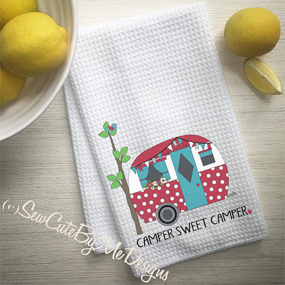 Personalized Camper Kitchen Towel - Camping Kitchen Towel - Teal Red Polka Dots