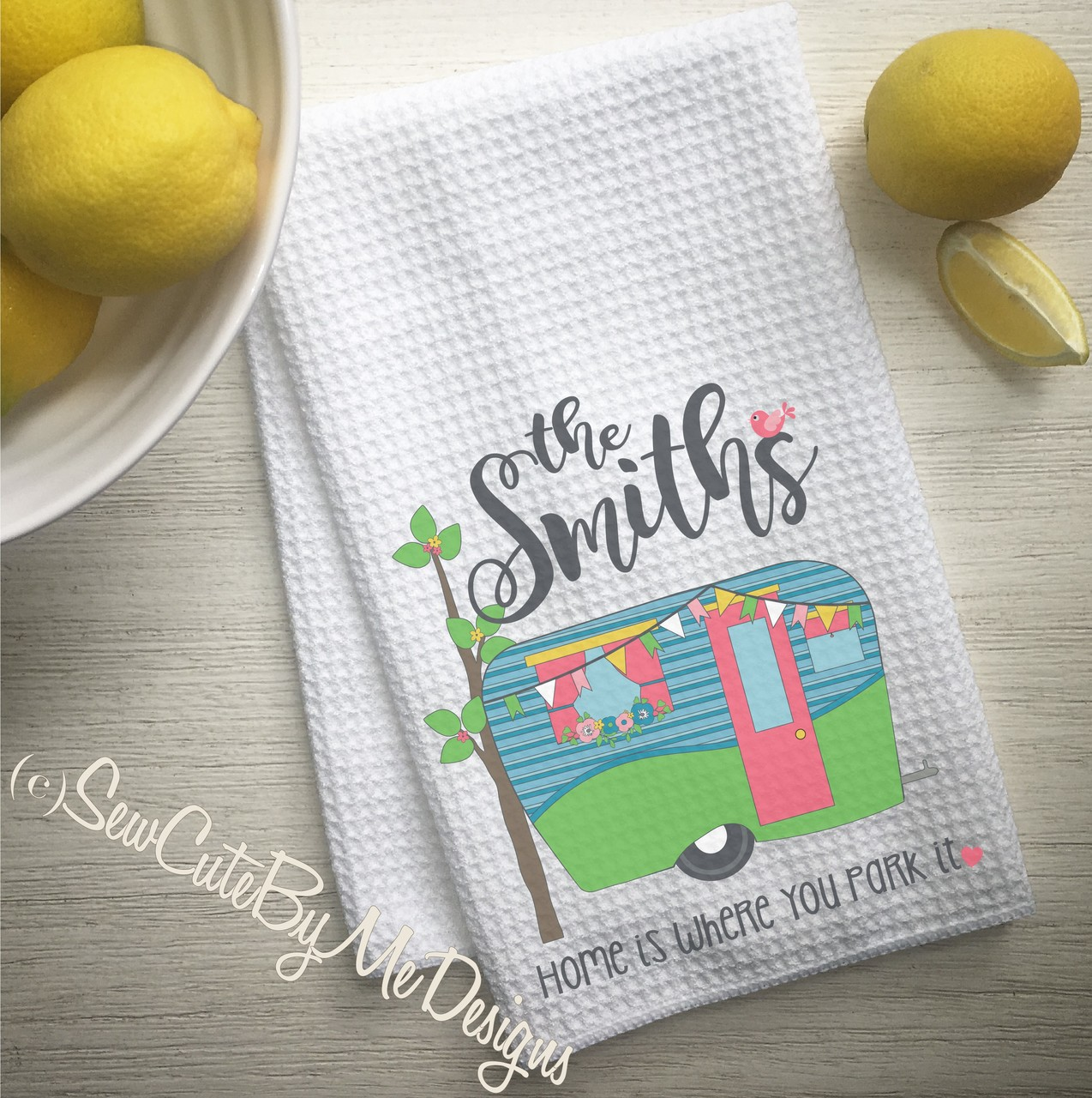 Personalized Camper Kitchen Towel - Personalized Camping Kitchen Towels - Home is Where You Park It - Aqua Green Coral